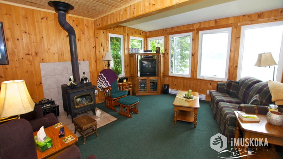 Pine LIned living room Pine lined living with airtight wood stove