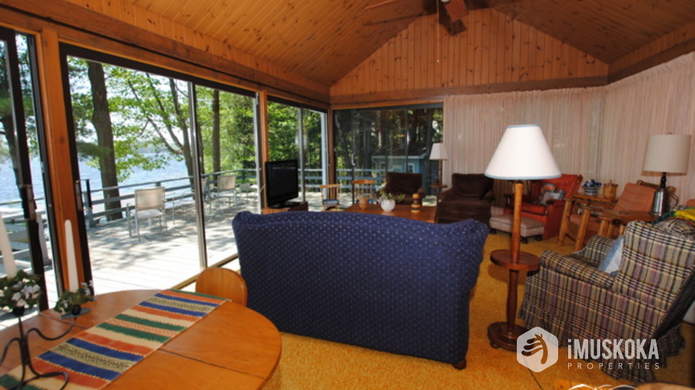 Muskoka Room Muskoka room with lots of windows overlooking lake Rosseau.