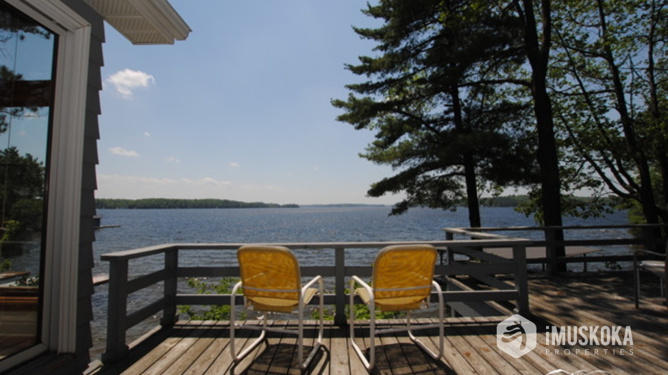 Relax, have a seat.  take it easy on the deck of Royal Muskoka Island.